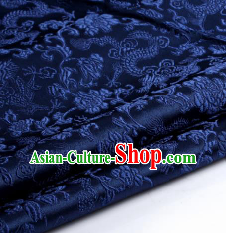 Chinese Traditional Tang Suit Navy Blue Brocade Classical Pattern Dragons Design Silk Fabric Material Satin Drapery