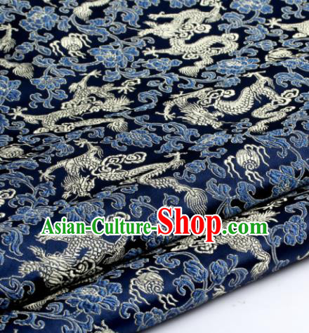 Chinese Traditional Tang Suit Navy Brocade Classical Pattern Dragons Design Silk Fabric Material Satin Drapery