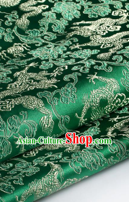 Chinese Traditional Tang Suit Green Brocade Classical Pattern Dragons Design Silk Fabric Material Satin Drapery