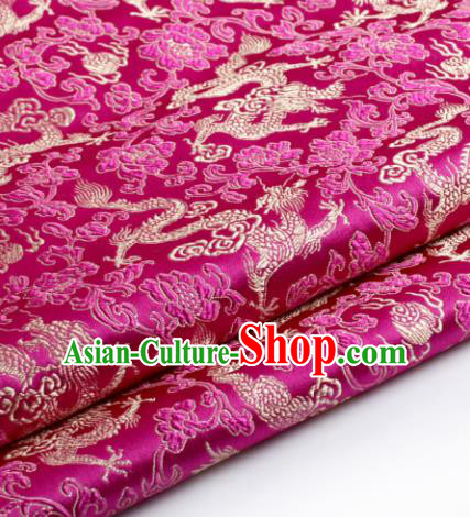 Chinese Traditional Tang Suit Rosy Brocade Classical Pattern Dragons Design Silk Fabric Material Satin Drapery