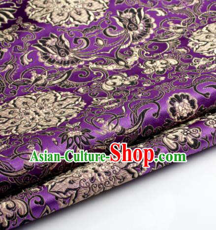 Chinese Traditional Tang Suit Purple Brocade Classical Lotus Pattern Dragons Design Silk Fabric Material Satin Drapery