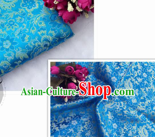 Chinese Traditional Blue Brocade Classical Flowers Pattern Design Silk Fabric Material Satin Drapery