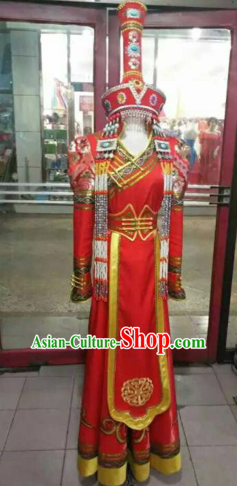 Chinese Traditional Mongol Nationality Costumes Mongolian Dance Red Dress and Hat for Women