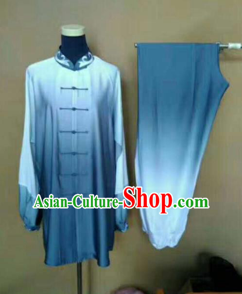 Top Grade Martial Arts Blue Costumes Professional Kung Fu Tai Chi Clothing for Adults