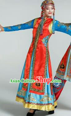 Chinese Traditional Mongol Nationality Costumes Mongolian Ethnic Folk Dance Dress and Hat for Women