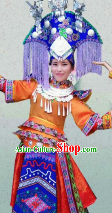 Chinese Traditional Zhuang Nationality Costumes Ethnic Folk Dance Orange Dress and Hat for Women