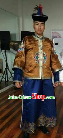 Chinese Traditional Mongol Nationality Costumes Mongolian Ethnic Brown Clothing and Hat for Men