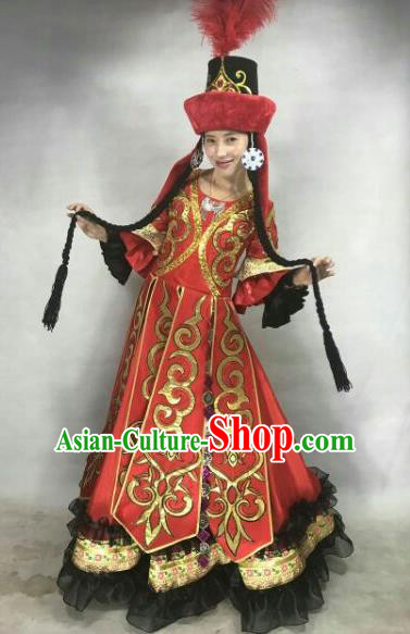Chinese Traditional Tajik Nationality Costumes Tayikos Ethnic Folk Dance Dress and Hat for Women