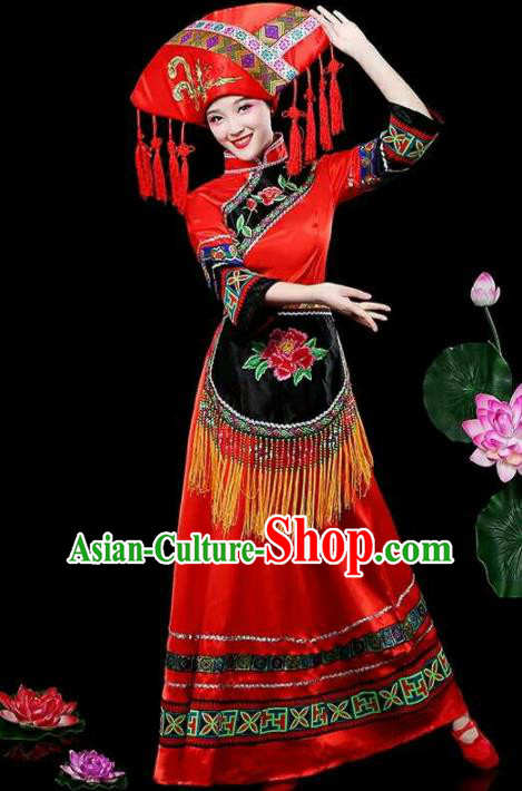 Chinese Traditional Zhuang Nationality Costumes Ethnic Folk Dance Red Dress and Hat for Women