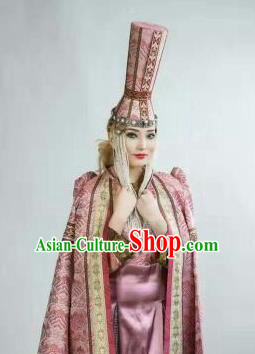 Chinese Traditional Mongol Nationality Headwear Mongolian Dance Ethnic Pink Hat for Women