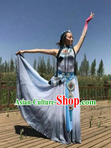 Chinese Traditional Zang Nationality Costumes Tibetan Ethnic Folk Dance Dress for Women