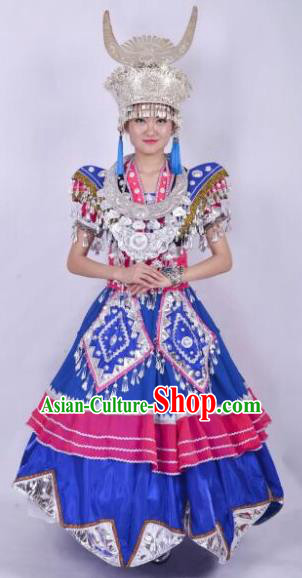Chinese Traditional Miao Nationality Wedding Costumes Hmong Ethnic Folk Dance Dress and Headwear for Women