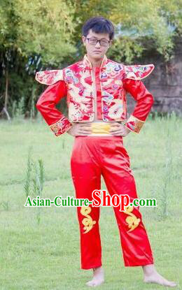 Chinese Traditional Folk Dance Costumes Yangko Dance Clothing for Men