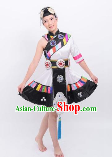Chinese Traditional Zang Nationality Wedding Costumes Ethnic Folk Dance Dress and Headwear for Women