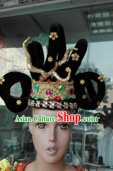 Chinese Traditional Classical Dance Hair Accessories Ancient Peri Wigs for Women