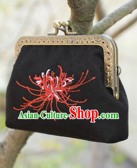 Chinese Traditional Handmade Embroidered Black Coin Purse Retro Handbag for Women