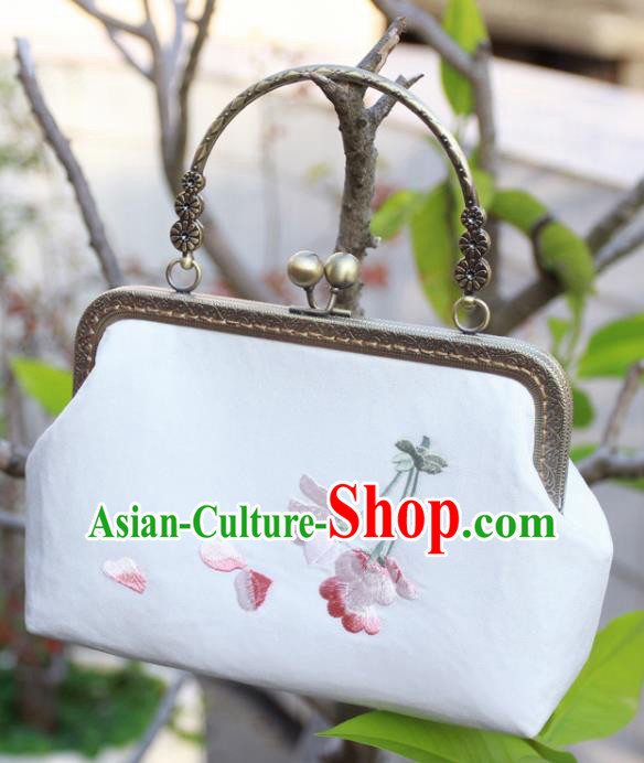 Chinese Traditional Handmade Embroidered Peach Blossom White Bags Retro Handbag for Women