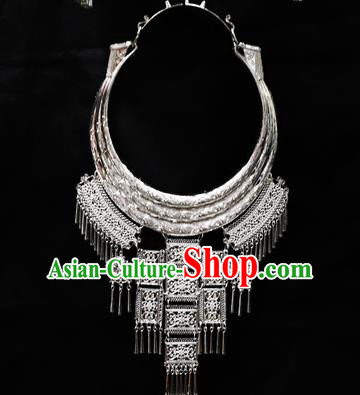 Chinese Traditional Miao Nationality Jewelry Accessories Hmong Sliver Necklace for Women