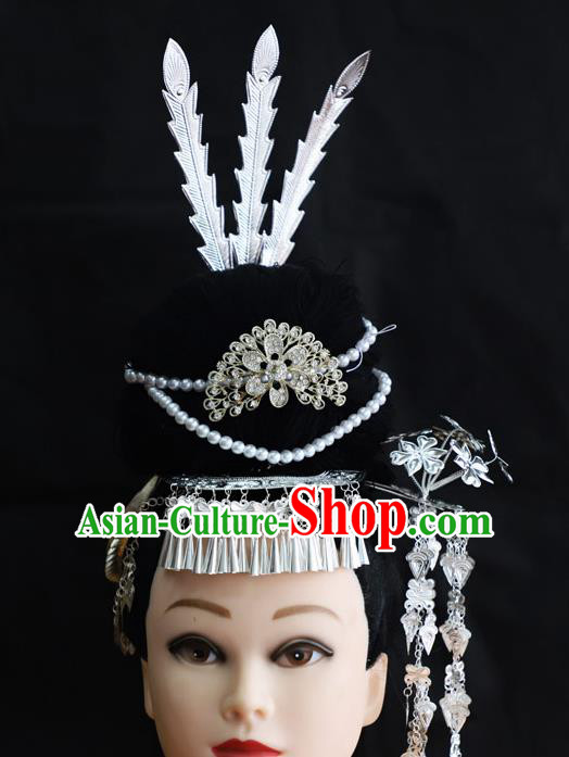 Chinese Traditional Miao Nationality Hair Accessories Hmong Carving Sliver Hairpins for Women