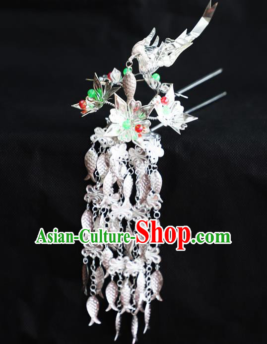 Chinese Traditional Miao Nationality Hair Accessories Sliver Phoenix Tassel Hairpins for Women