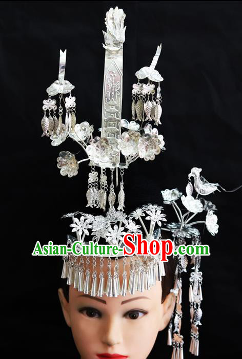 Chinese Traditional Miao Nationality Hair Accessories Phoenix Coronet Sliver Hairpins for Women