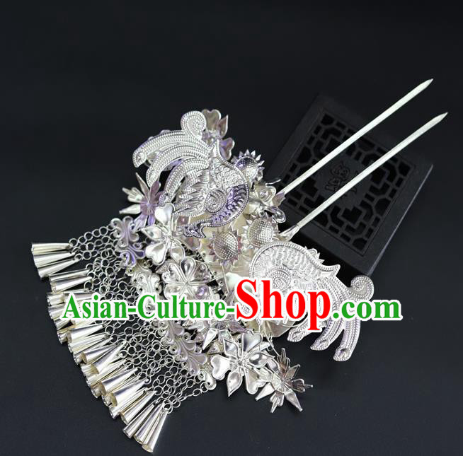 Chinese Traditional Miao Nationality Hair Accessories Sliver Hairpins for Women