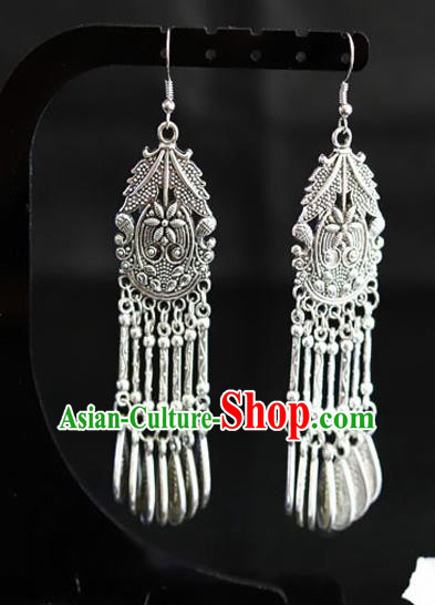 Chinese Traditional Miao Nationality Accessories Wedding Sliver Earrings for Women