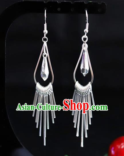 Chinese Traditional Miao Nationality Ear Accessories Wedding Sliver Earrings for Women