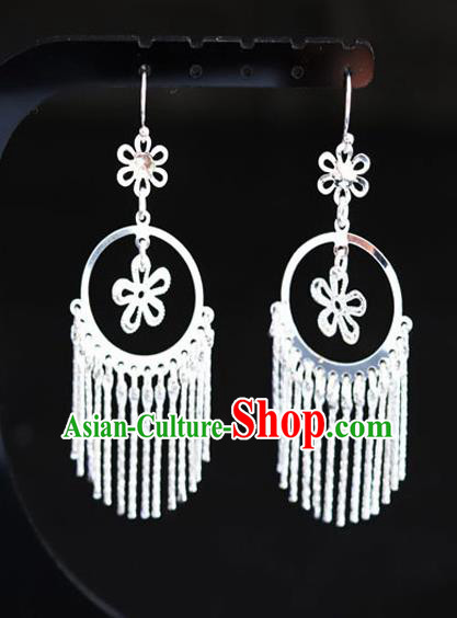 Chinese Traditional Miao Nationality Sliver Ear Accessories Wedding Earrings for Women