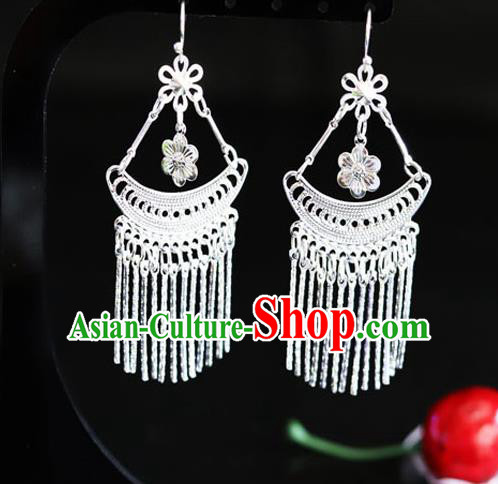 Chinese Traditional Miao Nationality Sliver Tassel Ear Accessories Wedding Earrings for Women