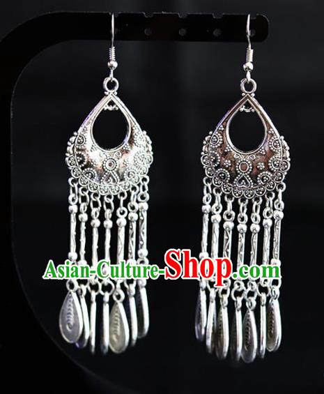 Chinese Traditional Miao Nationality Sliver Ear Accessories Wedding Tassel Earrings for Women