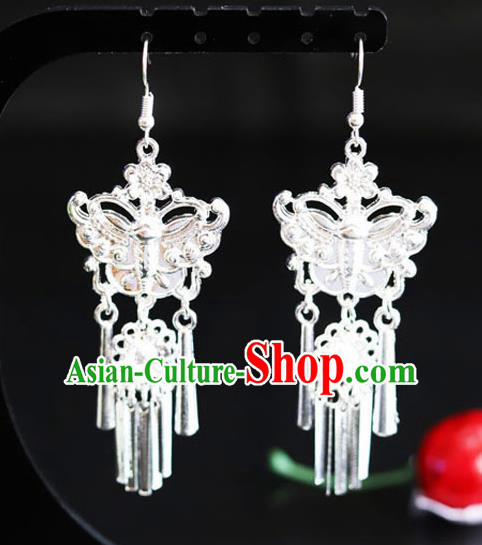 Chinese Traditional Miao Nationality Sliver Ear Accessories Wedding Butterfly Earrings for Women