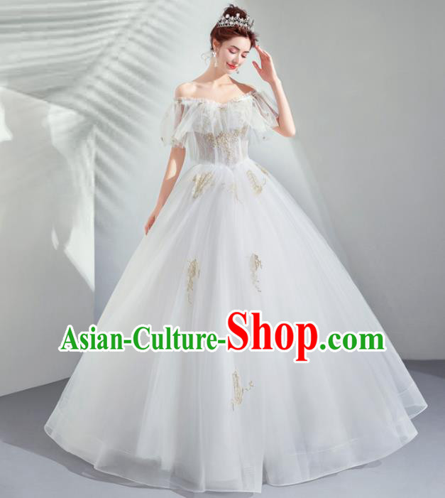 Top Grade Handmade Wedding Costumes Bride White Bubble Full Dress for Women
