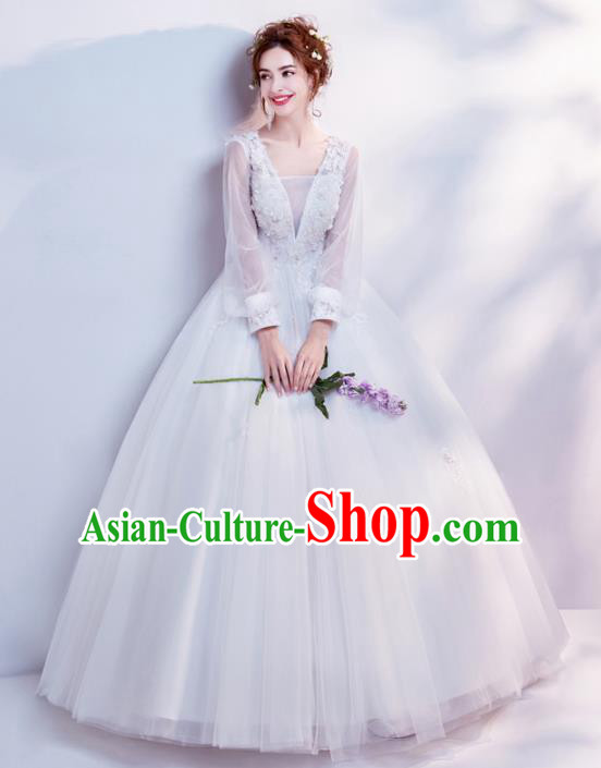 Top Grade Handmade Wedding Costumes Wedding Gown Bride White Veil Full Dress for Women