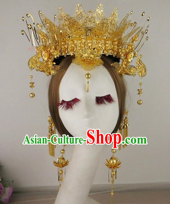 Chinese Traditional Bride Wedding Hair Accessories Ancient Golden Phoenix Coronet Hairpins for Women