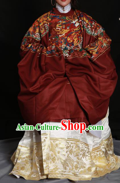 Chinese Traditional Ming Dynasty Empress Clothing Ancient Queen Embroidered Red Costumes for Women
