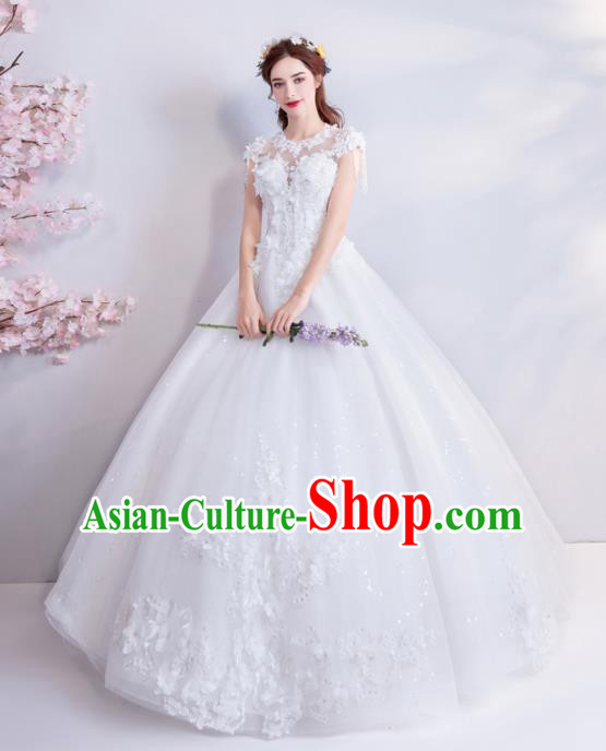 Top Grade Handmade Wedding Costumes Wedding Gown Bride White Lace Full Dress for Women