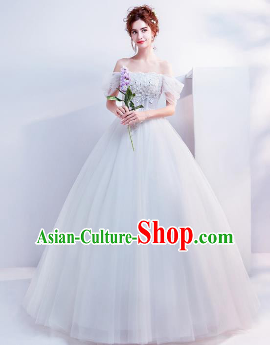 Top Grade Handmade Wedding Costumes Wedding Gown Bride White Flat Shouders Full Dress for Women