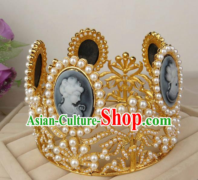 Top Grade Baroque Hair Accessories Wedding Pearls Royal Crown for Women