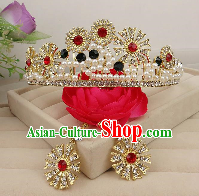 Top Grade Baroque Hair Accessories Wedding Crystal Pearls Royal Crown for Women