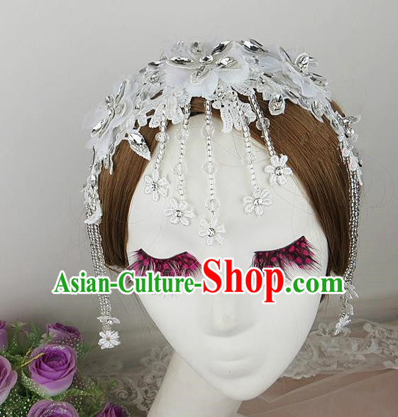 Top Grade Baroque Hair Accessories Wedding White Lace Hair Clasp for Women