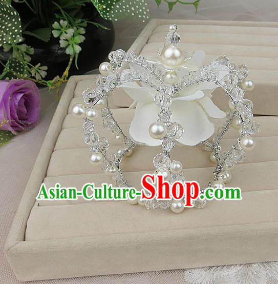 Top Grade Baroque Hair Accessories Wedding White Royal Crown for Women
