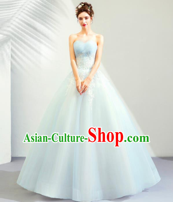 Top Grade Handmade Wedding Costumes Bride Blue Veil Dress Princess Wedding Gown for Women