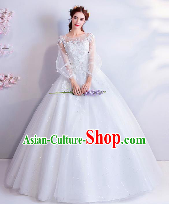 Top Grade Handmade Fancy White Veil Wedding Dress Princess Wedding Gown for Women