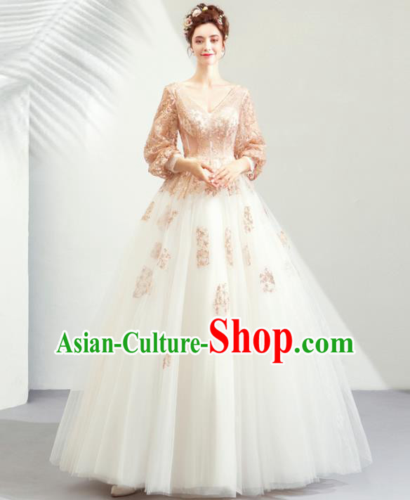 Top Grade Handmade Fancy Golden Lace Wedding Dress Princess Wedding Gown for Women