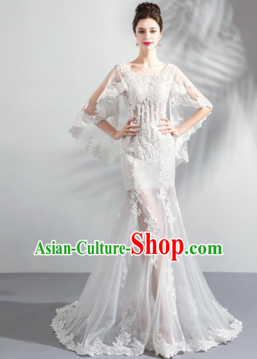 Top Grade Handmade Fancy White Lace Wedding Dress Princess Wedding Gown for Women