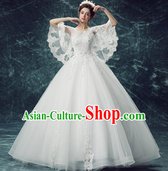 Top Grade Handmade Fancy Wedding Dress Princess White Wedding Gown for Women