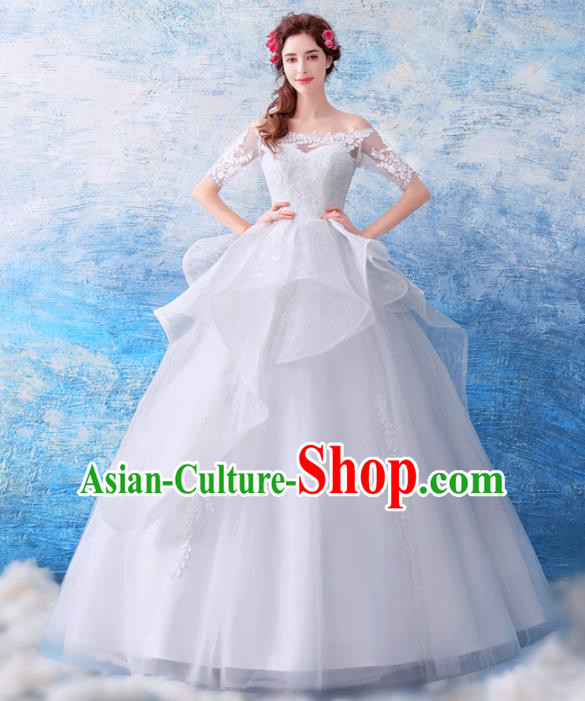 Top Grade Princess Fancy White Wedding Dress Handmade Wedding Gown for Women