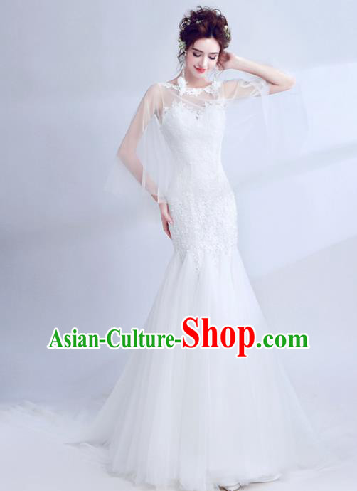 Top Grade Princess Fancy White Lace Wedding Mermaid Dress Handmade Wedding Gown for Women