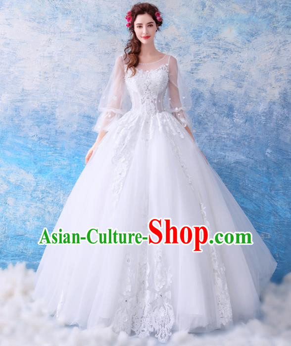 Top Grade Princess Fancy White Lace Wedding Dress Handmade Wedding Gown for Women